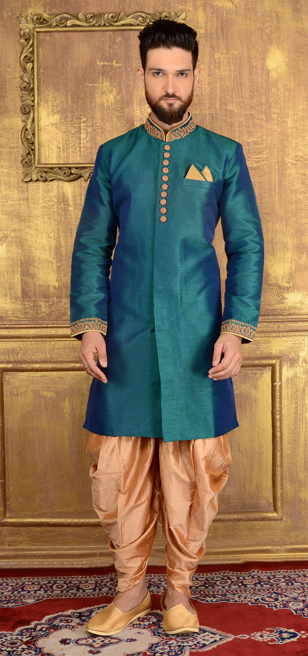 Rama Green Art Banarasi Silk Indo western | Green art, Sherwani and ...