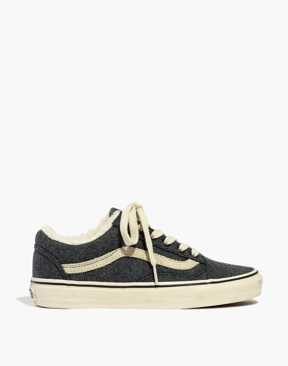7b4304693ff Madewell x Vans® Unisex Old Skool Lace-Up Sneakers in Flannel and Sherpa in  black true white image 2