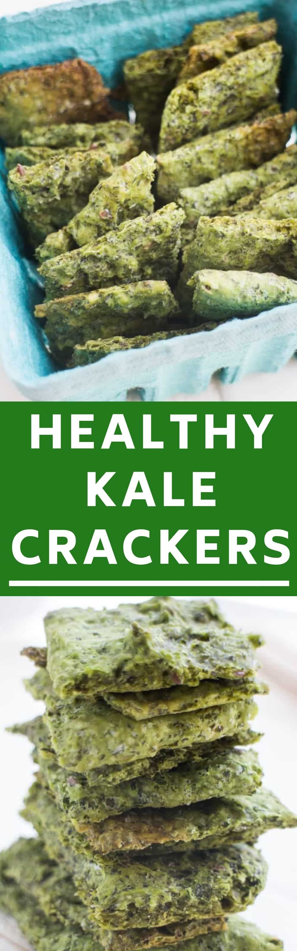 Easy Homemade Kale Crackers Recipe Made By Combining Kale And Flour They Are Sprinkled With Salt Low Carb Crackers Recipes Cracker Recipes Low Carb Crackers