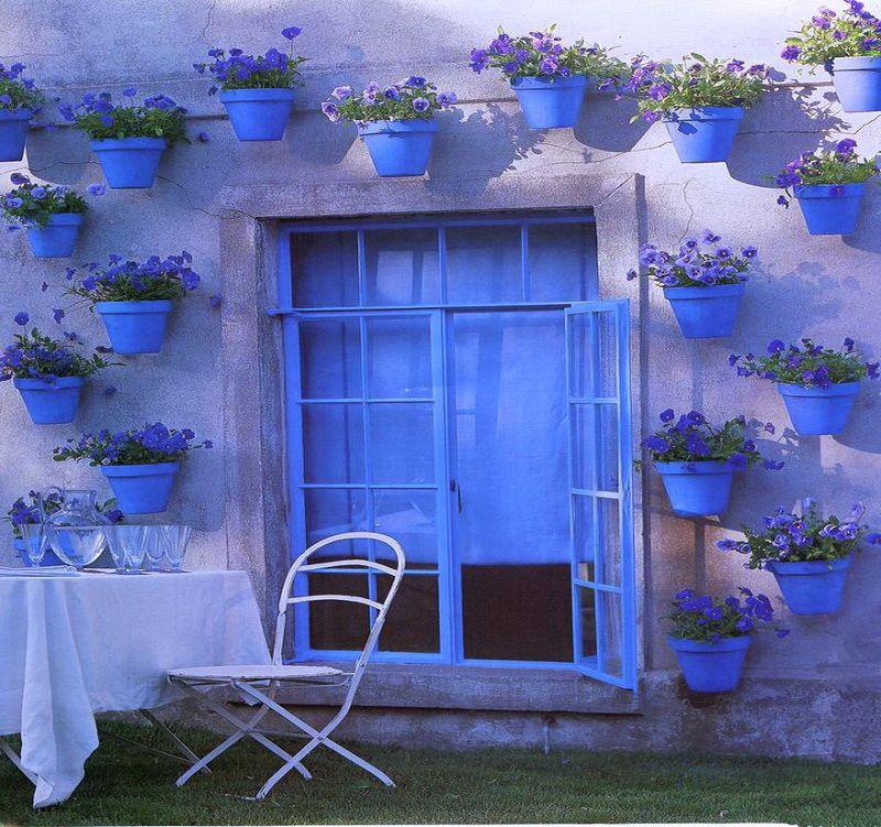 Blue Color Palette On Exterior Garden Wall Gorgeous
