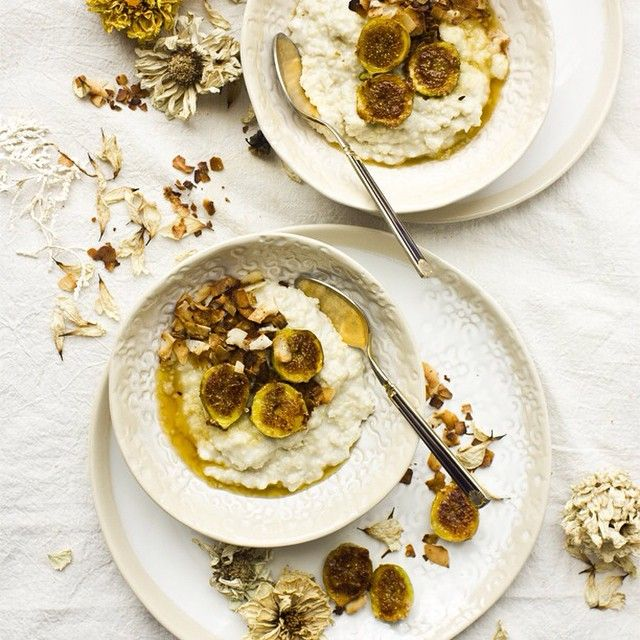 Phi Tran for Feastly | Coconut Millet Porridge with Gingered Figs and Toasted Coconut Flakes