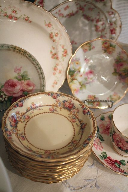 antique dishes instead of plain white plates for food