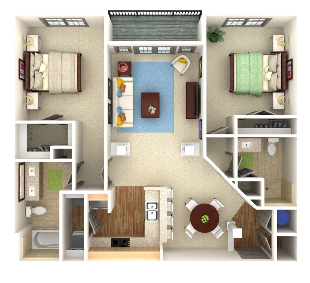 Apartmentcondo overhead 3d rendering prevision 3d llc 3d floor plans and