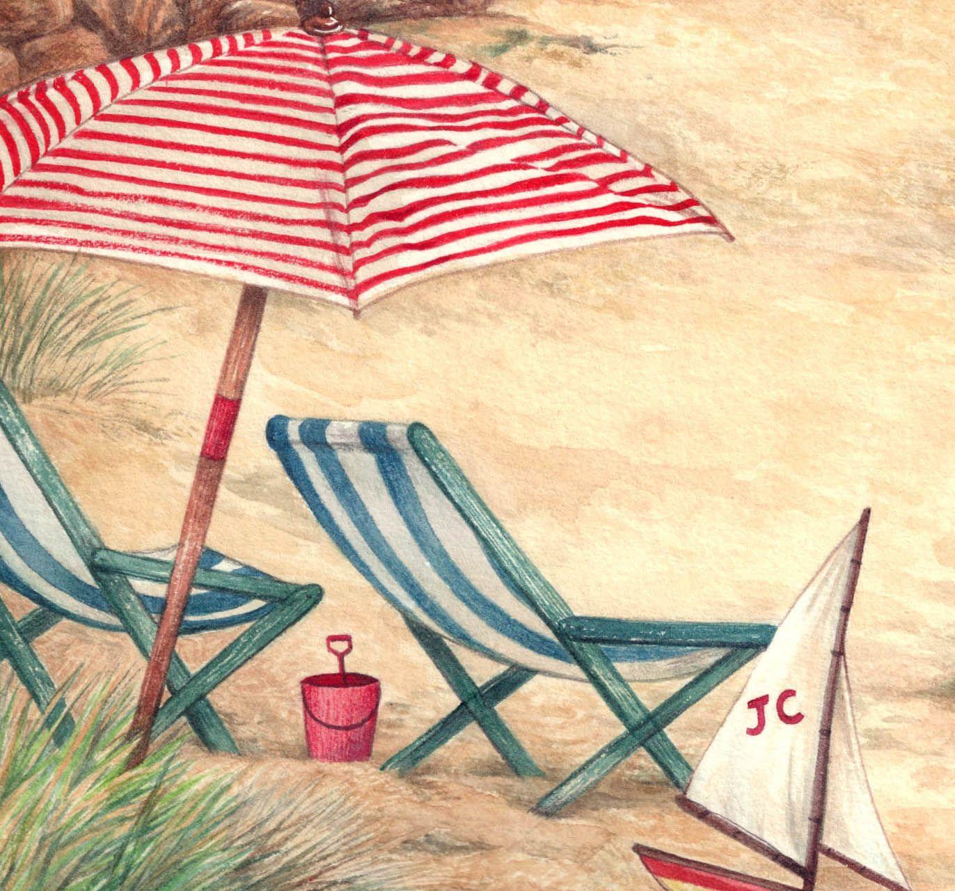 Beach chair and umbrella sketch - Asketchaday Connecticutramblings Beach Umbrella