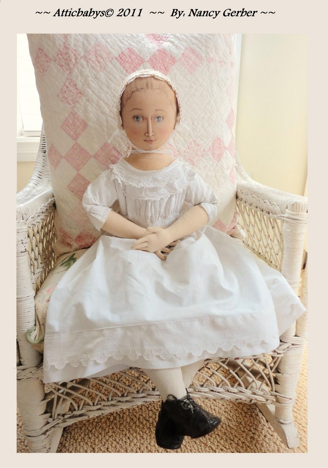 "cloth doll by ""Atticbabys©"", all dressed up in antique clothing and shoes."