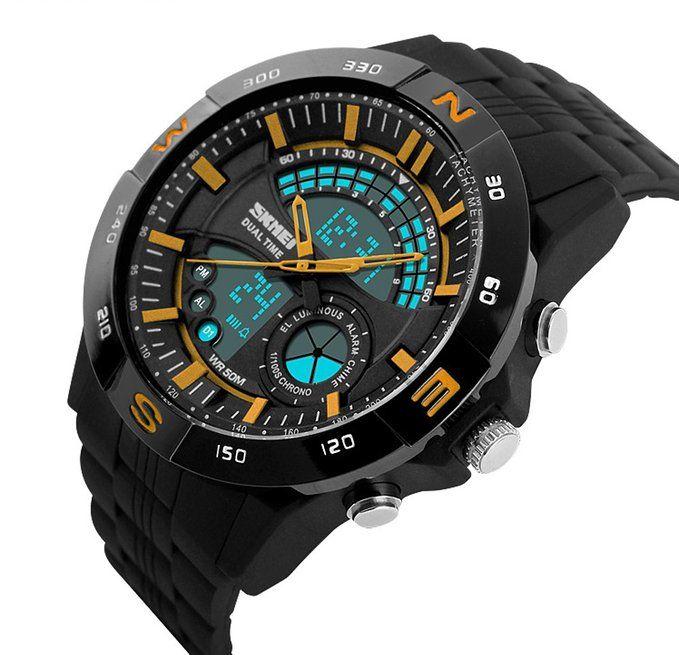 Amazon.com: FASON Mens quartz Sport Military Watches Men LED Digital Casual Quartz Watch Dive Rubber Strap multifunction watch (Yellow): Clothing