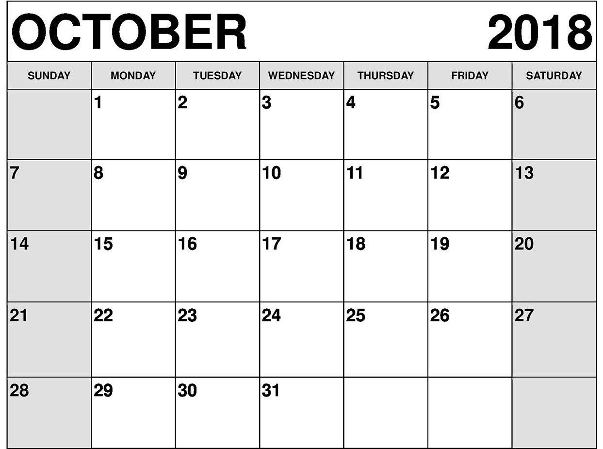 October Calendar Templates