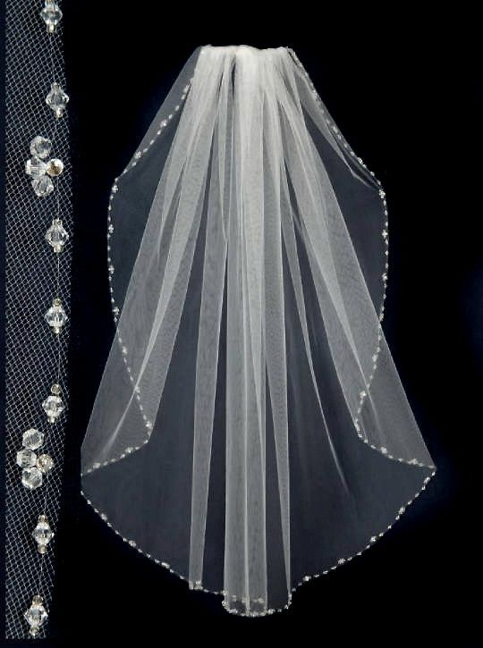 Ivory Fingertip Crystal Beaded Edge Wedding Veil Handmade 2 Layer Bridal White
