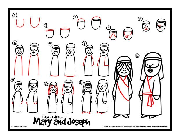 How to Draw Mary and Joseph - tutorial, video, and printable