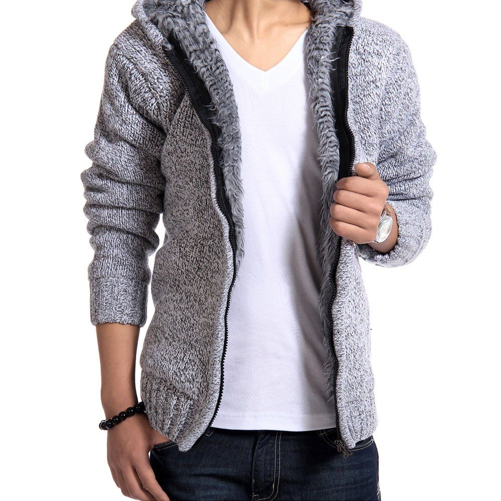 Men's Zip Up Knitwear Cardigan Hooded Wool Sweater at Amazon Men's ...
