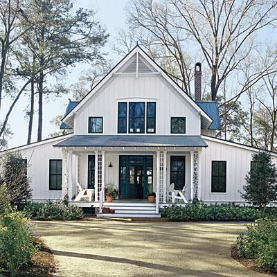 White Plains   Create a place where tradition can endure, here's a casual cottage with Folk details such as latticed porch columns, a steeply pitched roof and exposed rafters. A twist of Carpenter Gothic style, the home is accented with board and batten siding and a metal roof which lend a playful, vernacular feel.   SouthernLiving.com