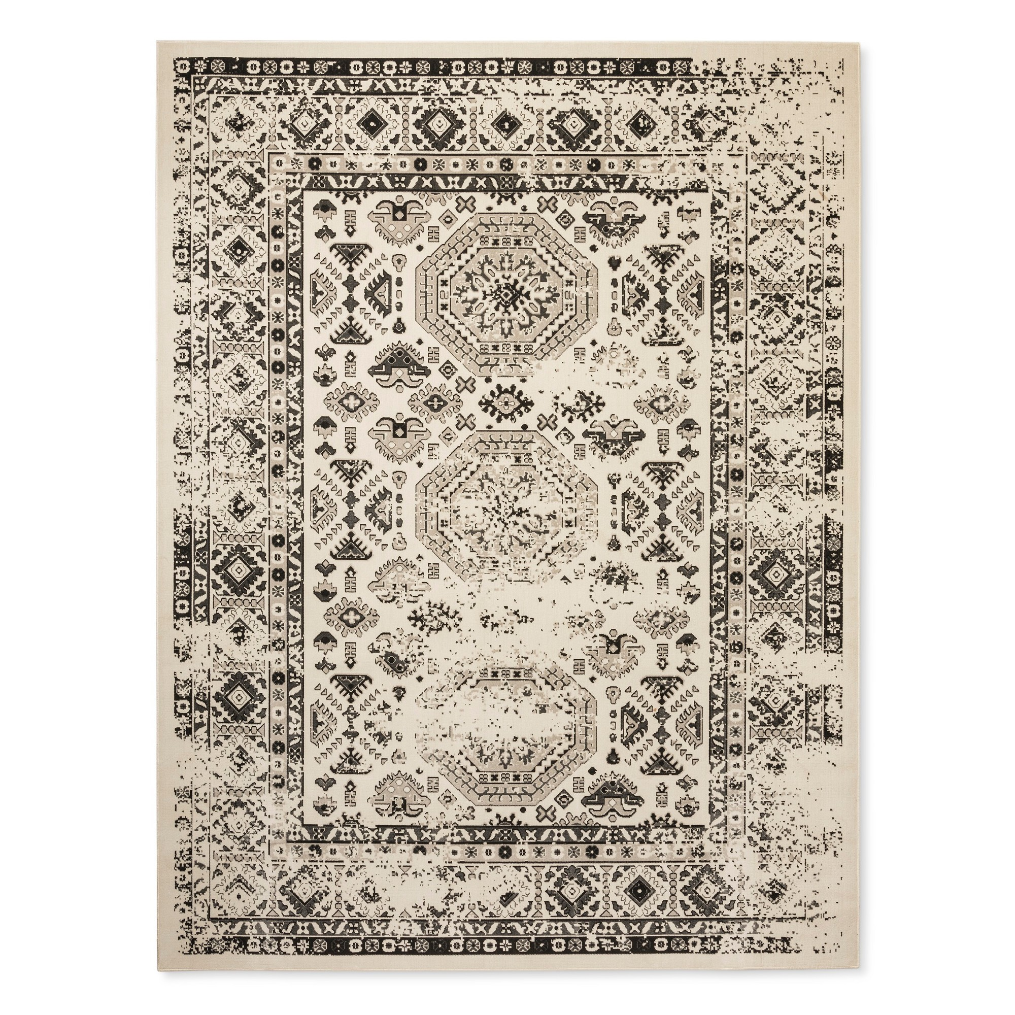 Cream Ivory Medallion Woven Area Rug 5 X7 Threshold Overdyed Rugs Woven Rug Rugs