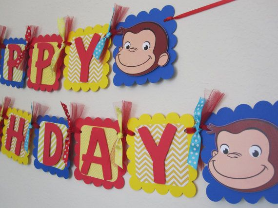 curious george birthday party happy birthday banner curious george