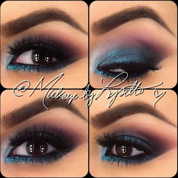 Maquillaje de noche para vestido azul petroleo