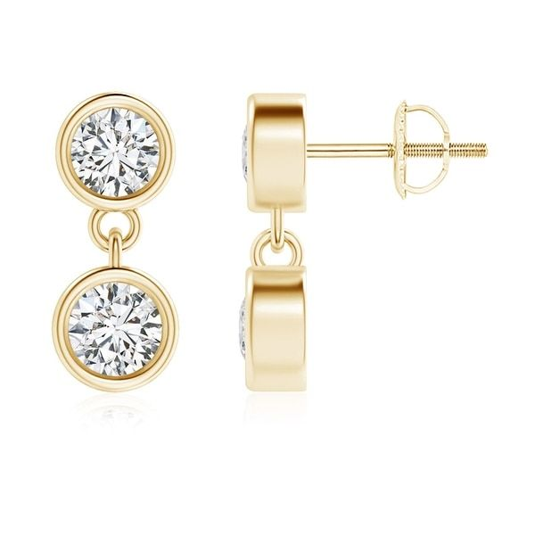 Angara Two Stone Diamond Drop Earrings in Yellow Gold xMD4Kw