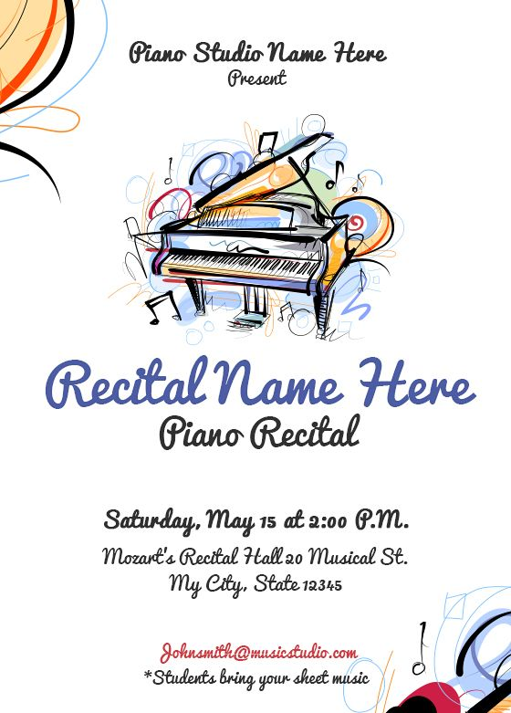Piano Recitals Invitations By Joytunes Piano Recital Recital Piano
