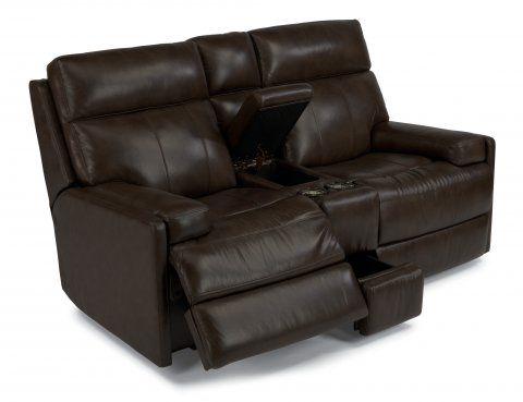 Nathan Leather Power Reclining Loveseat With Console By