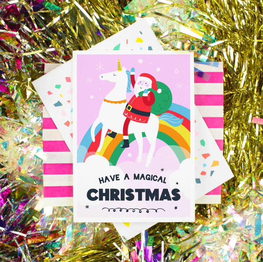 christmas card santa unicorn magical xmas greeting  xmas