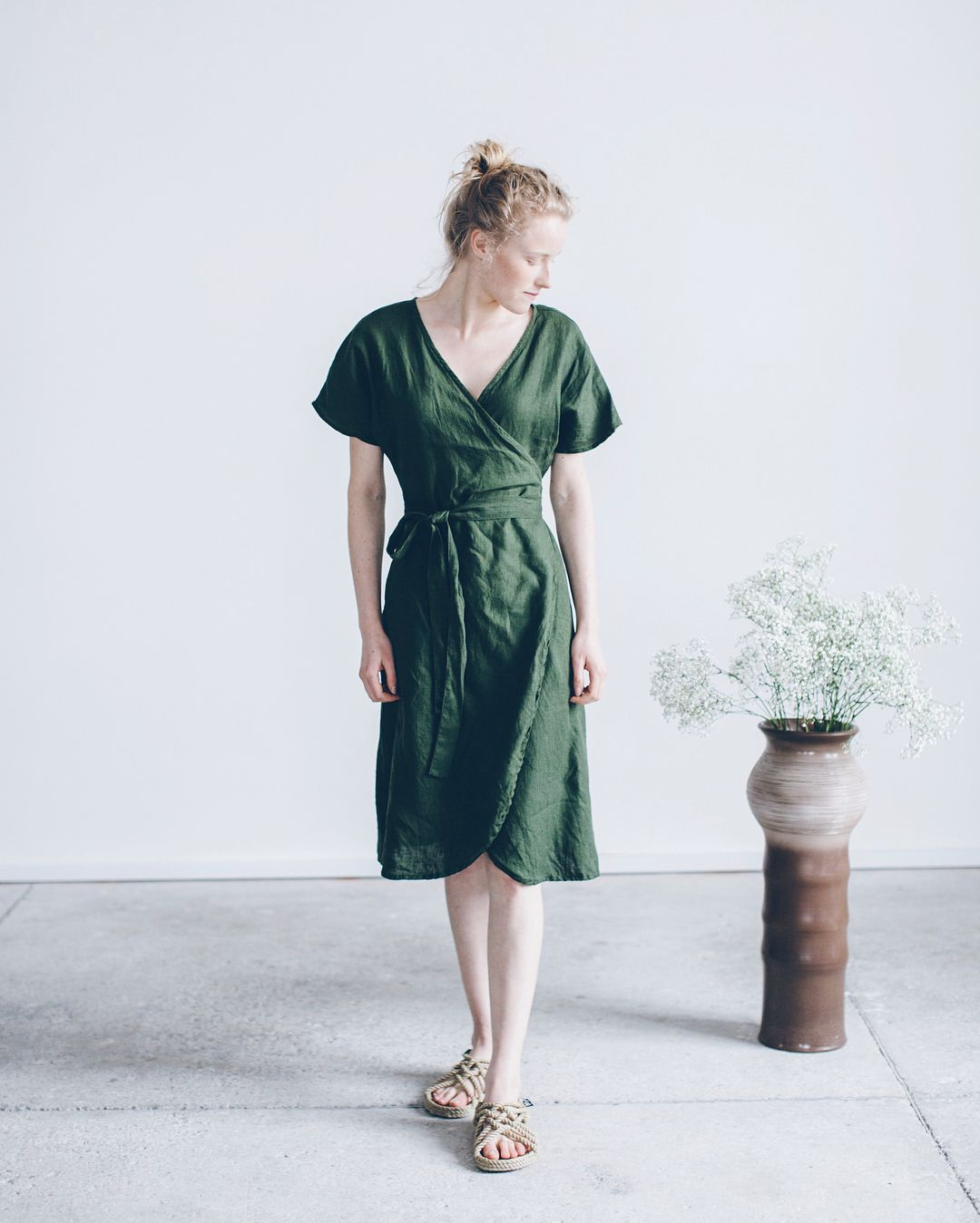 1ec02952ae3 Meet our Mimosa dress in new colour (forest green) Will be available next  week.  linenfox  forestgreen  mimosadress  wrapdress  washedlinen   linenfabric .