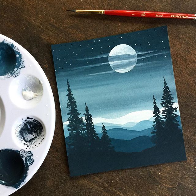 Whenever I travel by plane, I'm always fascinated by the blackness of space when you look up out of the window. I love the smooth gradient of blue to black and the pale ground far below. This little gouache painting is inspired by that and is just cerulean blue, with either black or white added. ..#art #artist #watercolor #watercolorart #illustration #arteza #artezagouache #gouacheillustration #gradient #moonlight #surelysimple #tempuradesign #illustrationnow #createeveryday #sketchbook #gouac