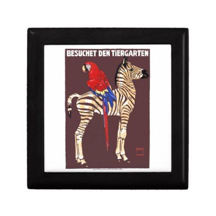 1912 Ludwig Visit The Zoo Zebra Macaw Poster Jewelry Box - antique gifts stylish cool diy custom