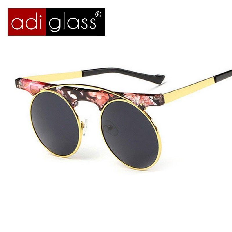 e9bec9251701 Adiglass Brand Fashion Retro Round Sunglasses Women Steampunk Sun Glasses  Men Coating Sunglass Oculos De Sol Gafas Vintage