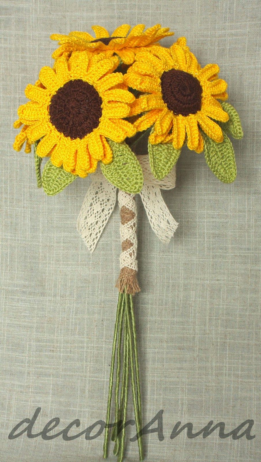 Crochet sunflowers bouquet crochet patterns flowers leaves
