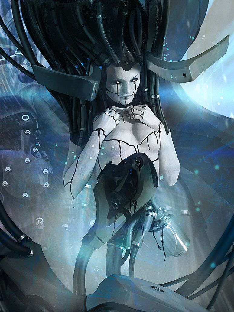 succubus by ~IgorKieryluk # cyberpunk, robot girl, cyborg, futuristic, android, sci-fi, science fiction, cyber girl, digital art