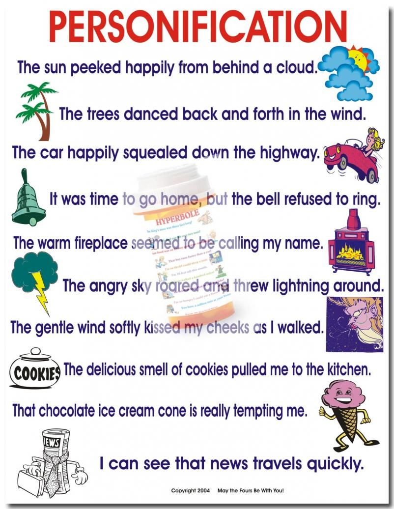 personification examples provided for students when they write personification examples provided for students when they write this could be a good handout in