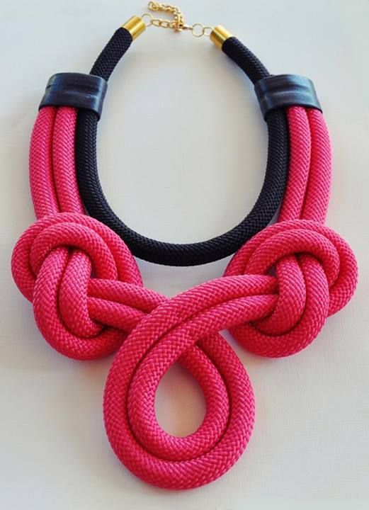 Black and Pink Rope Necklace