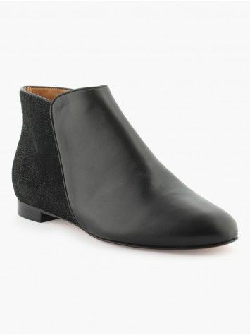 Bottines Cuir Double Texture French Manufacture La Halle