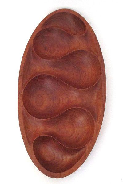 vintage teak modernist carved bowl