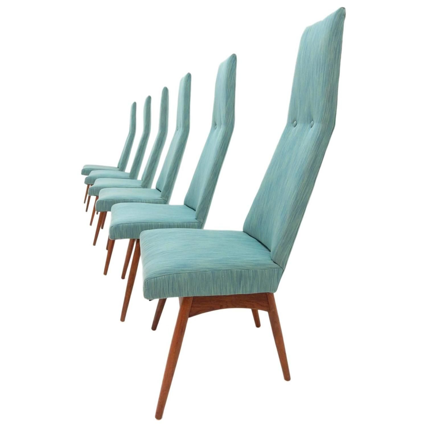 Mid Century Modern Adrian Pearsall Tall Back Dining Chairs Set Of