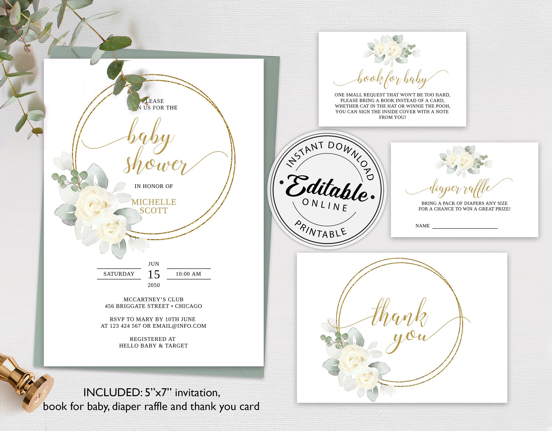Editable Floral Baby Shower Invitation Bundle Template