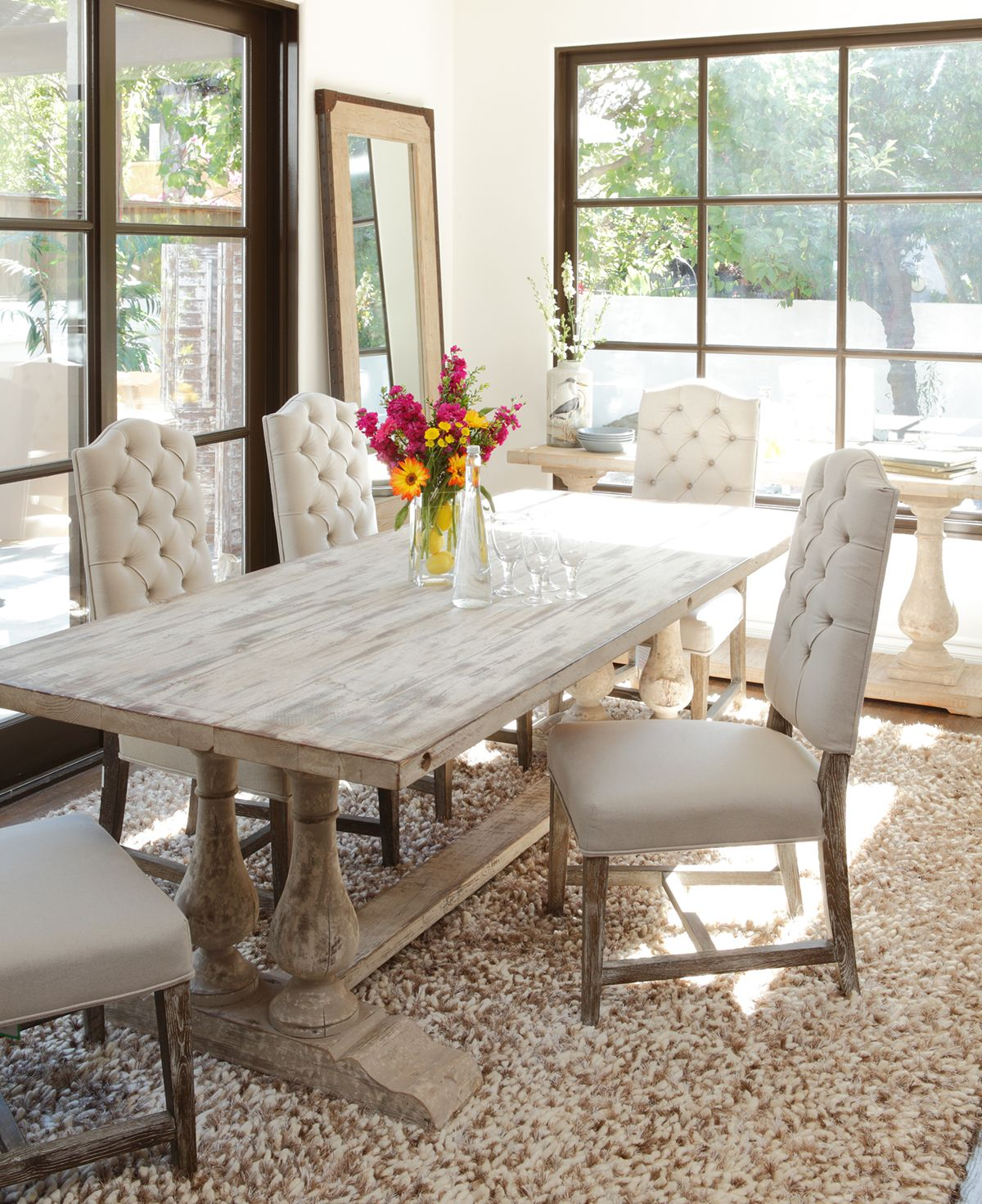 Windsor Dining Table Crafted Of Reclaimed Distressed Pine In An Antiqued White Finish Topped W Farmhouse Dining Room Table Chic Dining Room Dining Room Sets