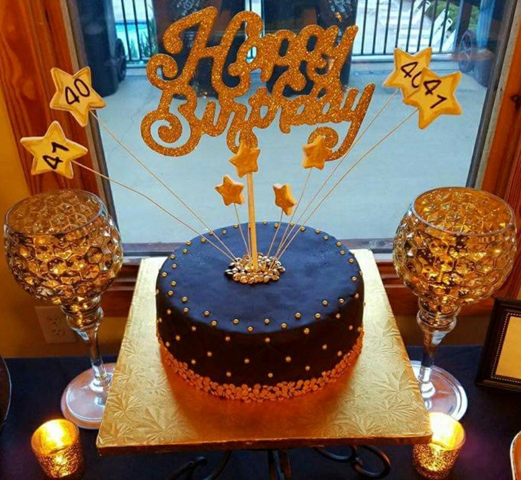Couple S 40th 41st Black Gold Birthday Cake Our Company