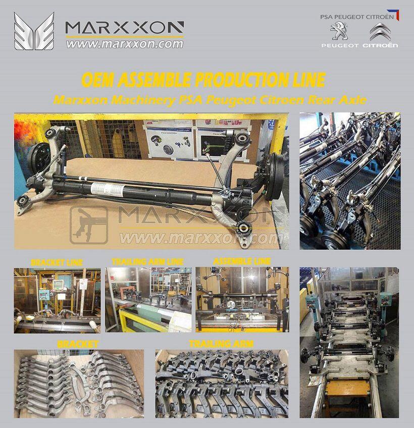 Marxxon PSA OEM Peugeot Citroen achteras Hinterachse Train arrière rear axle assemble professional production line         http://www.marxxon.com/newsinfo/483.html