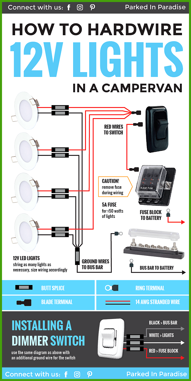 How To Wire 12 Volt Led Lights In Your Camper Van Conversion Great Diagram That Explains Exactly What You Nee Teardrop Trailer Interior Van Life 12v Led Lights