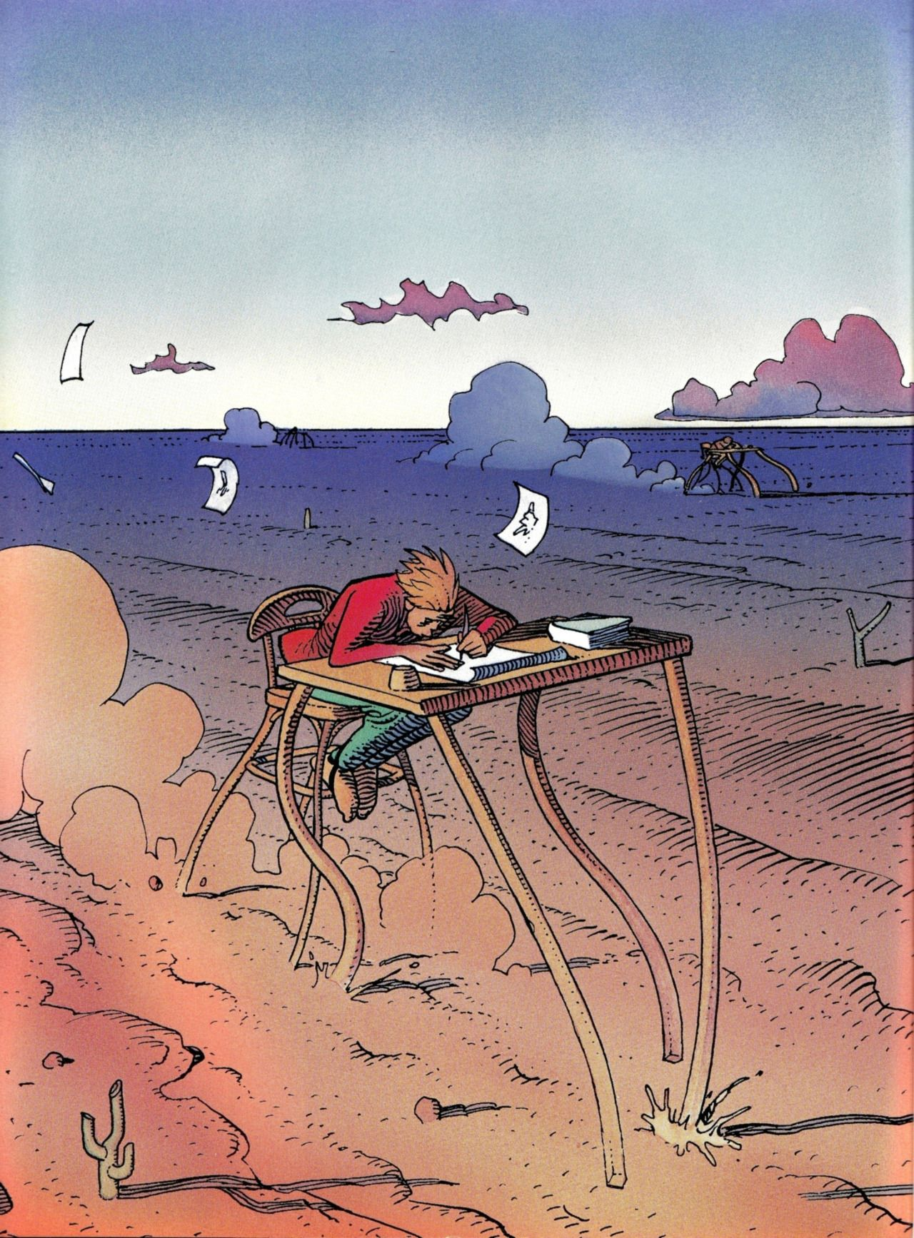 "Moebius - 1991 Flyleaf of french comics magazine ""A SUIVRE"" ""Silence, We Are Dreaming"" Special issue designed by Moebius, Editions Casterman, Paris July 1991"