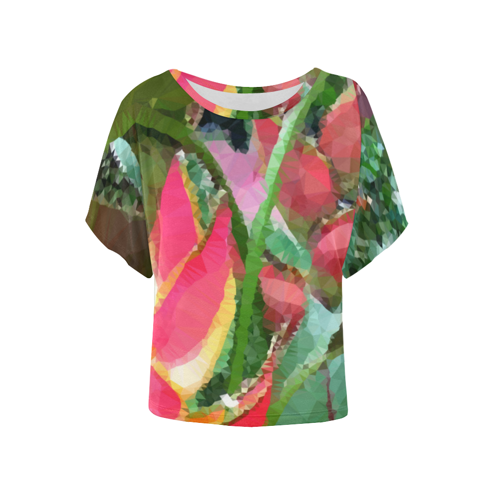 d1071cb7c Tropical Flowers Low Polygon Floral Art Women's Batwing-Sleeved ...