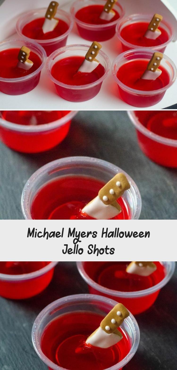 Michael Myers Halloween Jello Shots #halloweenjelloshots Strawberry jello shots with candy knives for Michael Myers Halloween Jello Shots. Great for Halloween parties that are spooky in nature. #cocktailrecipes #cocktails #jelloshots #jello #halloween #spooky #horror #horrormovies  #michaelmyers #FoodandDrinkHalloween #halloweenjelloshots