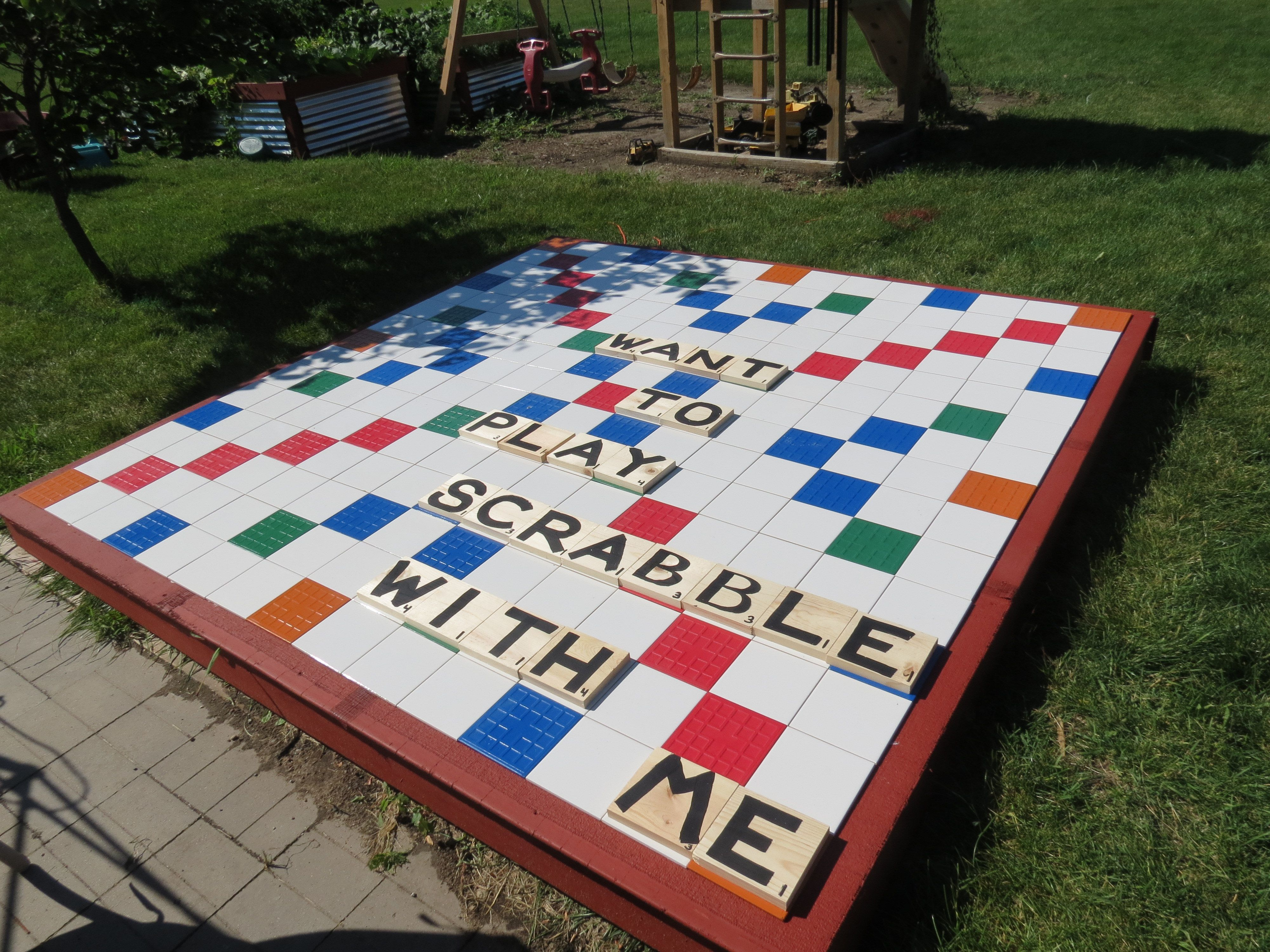 Life size scrabble board made from 6x6 ceramic tiles and left over life size scrabble board made from 6x6 ceramic tiles and left over decking letter tiles dailygadgetfo Image collections