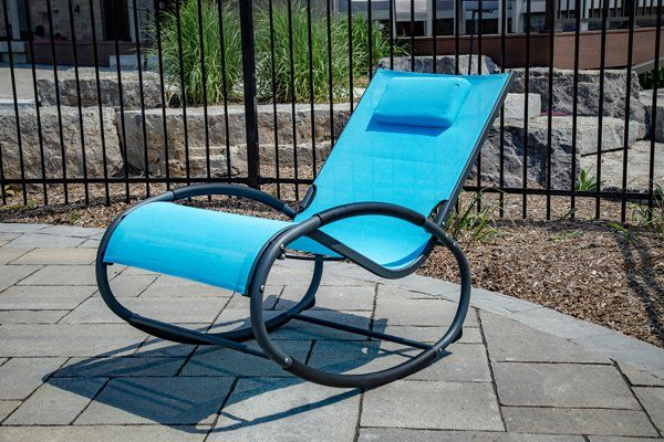 Admirable Vivere Rocking Chair Wave Rocker Aluminum Blue And Evergreenethics Interior Chair Design Evergreenethicsorg