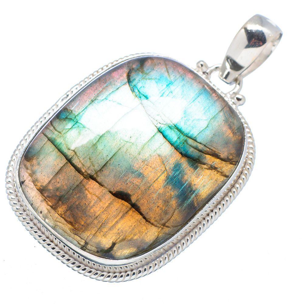"""Labradorite 925 Sterling Silver Pendant 1 3/4"""" PD520964"""