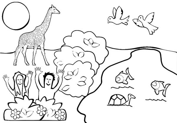 Depiction of Garden of Eden Coloring Page - NetArt