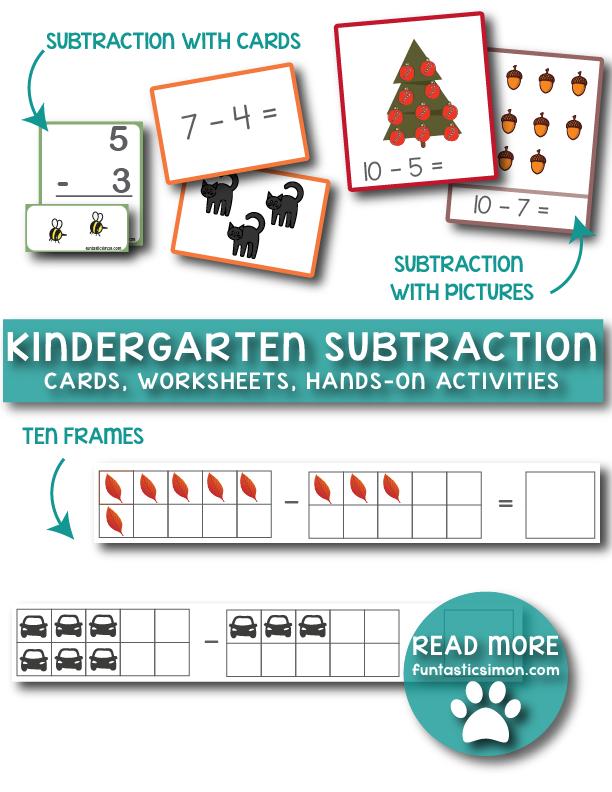 Kindergarten Subtraction Worksheets Matematiikka Pinterest
