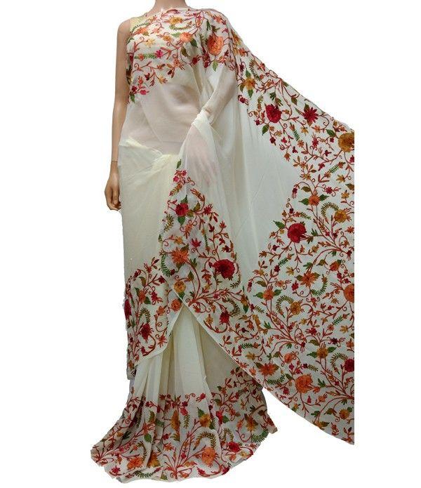 Off White Kashmiri Needle Work Georgette Saree | Kashmir Work Saree | Pinterest | Saree ...