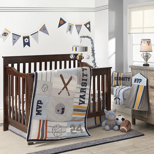 This Unique Varsity Collection Was Designed Exclusively For Babies R Us By Lambs Ivy Reg The Mixed Sports Themed Comfo Cribs Baby Bedding Sets Nursery Crib
