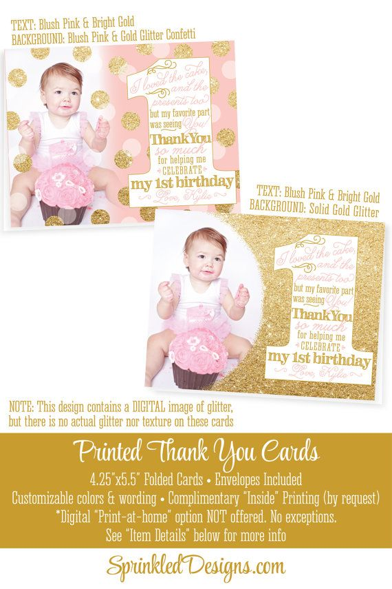First Birthday Thank You Card Personalized Custom 1st Birthday