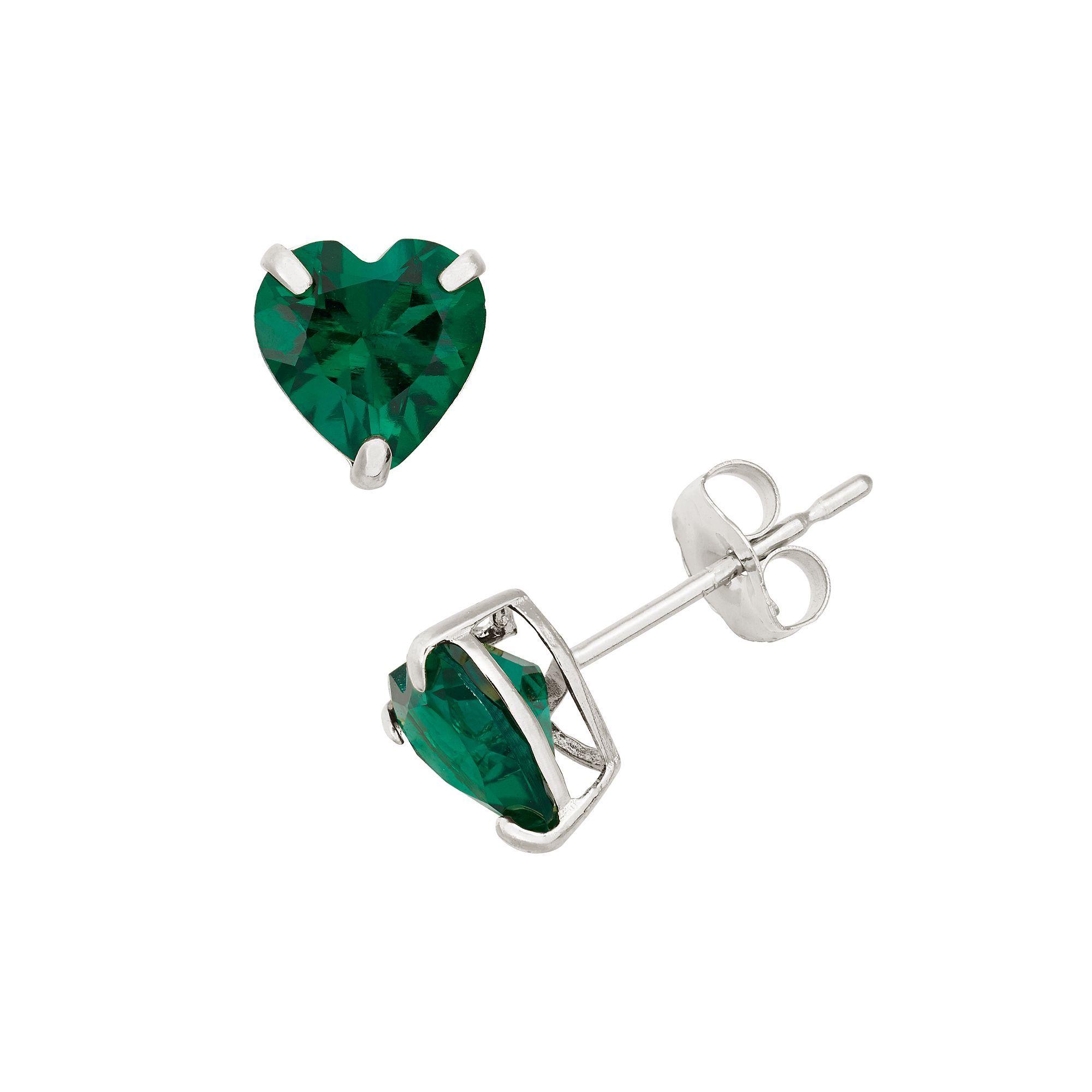 724bf3319 Lab-Created Emerald 10k White Gold Heart Stud Earrings, Women's, Green